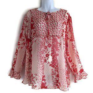 Susan Graver Red Print Sheer Boho Peasant Top M